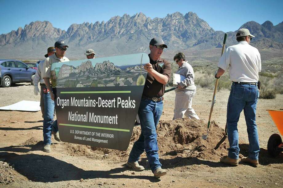 A sign is installed in 2015 at the new Organ Mountain-Desert Peaks National Monument near Las Cruces, N.M.  Photo: Jett Loe, MBR / The Las Cruces Sun-News