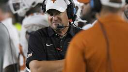 Texas coach Tom Herman stands on the sideline during the second half against USC on Sept. 16, 2017, in Los Angeles. USC won 27-24 in overtime.