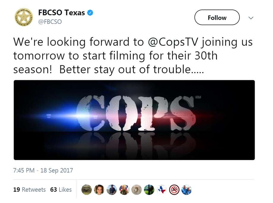 "Weird Texas crimesOn Monday, two Houston area law enforcement agencies announced they would be filming with ""COPS"" camera crews starting starting this week.See weird, bizarre Texas arrests and crimes of 2017 so far."
