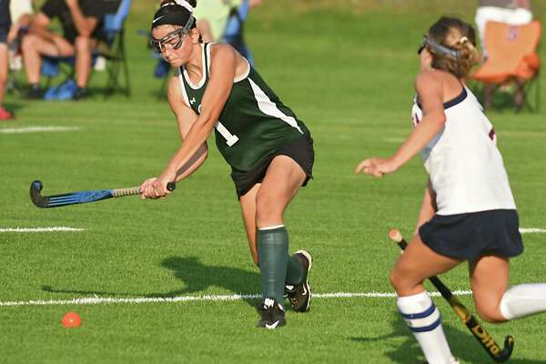 Shenendehowa's Jenna Graf, left, gets the ball past Saratoga's Erin McCarthy to score during a field hockey game on Monday, Sept. 18, 2017 in Saratoga Spring, N.Y. (Lori Van Buren / Times Union)