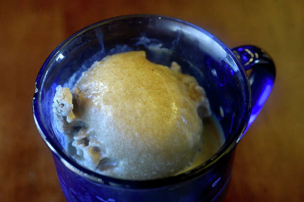 An Afogato is among the coffee rich dessert drinks offered at Sundara Coffee House in Groves. The Italian dish is coffee ice cream with a double shot of espresso. Photo taken Thursday, September 14, 2017 Kim Brent/The Enterprise