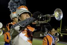 A United trumpet player performs during halftime Friday at the SAC.