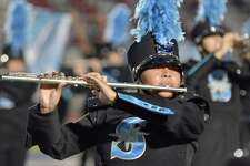 A United South flute player performs during halftime on Sept. 15 at the SAC.