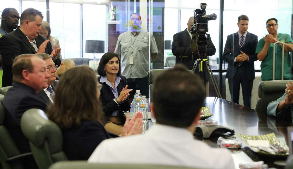 Seema Verma, center, director of the federal Centers for Medicare and Medicaid, listnes to how Dialyspa Dialysis handled itself during/after Harvey, on Monday, Sept. 18, 2017, in Houston. ( Elizabeth Conley / Houston Chronicle )