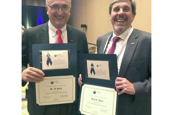Al Ribes, left, and Mark Jones of The Dow Chemical Co. were named 2017 American Chemical Society Fellows in August.