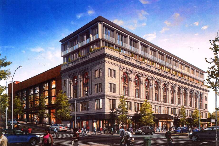 An rendering of the proposed renovations of the Poli Palace and Majestic Theaters, in Bridgpeort, Conn. Photo: Ned Gerard / Hearst Connecticut Media / Connecticut Post