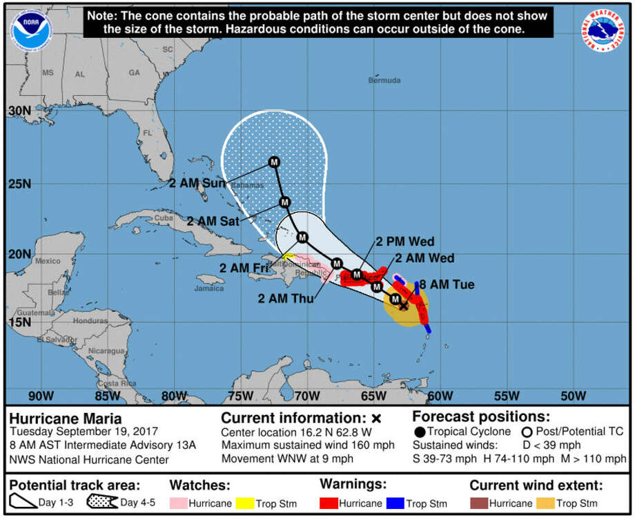 The National Hurricane Center has released the following projected trajectory for Hurricane Maria, as of Tuesday morning, Sept. 19, 2017. Photo: National Hurricane Center   NOAA