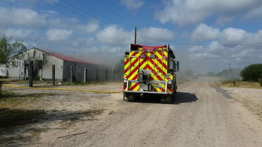 Webb County Volunteer Fire Department crews responded to the blaze at about 10 a.m. Monday. Photo: Courtesy