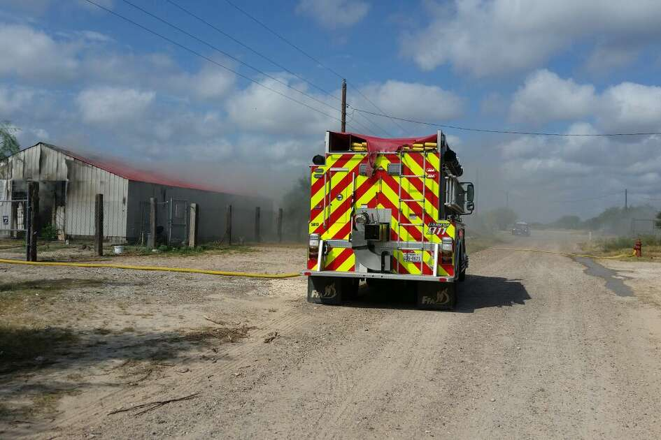 Webb County Volunteer Fire Department crews responded to the blaze at about 10 a.m. Monday.