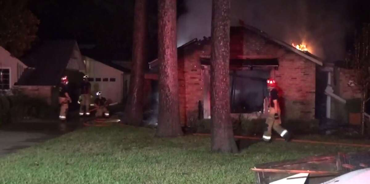 A house in west Houston already damaged by flooding from Hurricane Harvey caught fire early Tuesday. (Metro Video)