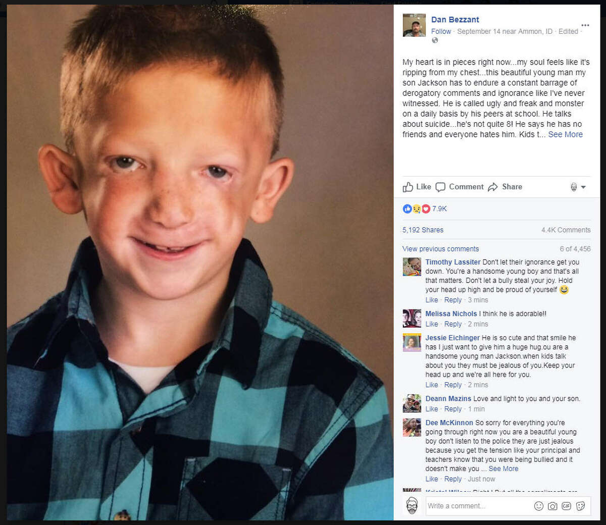 As a way to help cope with his son being relentlessly bullied in school, Dan Bezzant shared his family's story on Facebook and received thousands of comments in support.