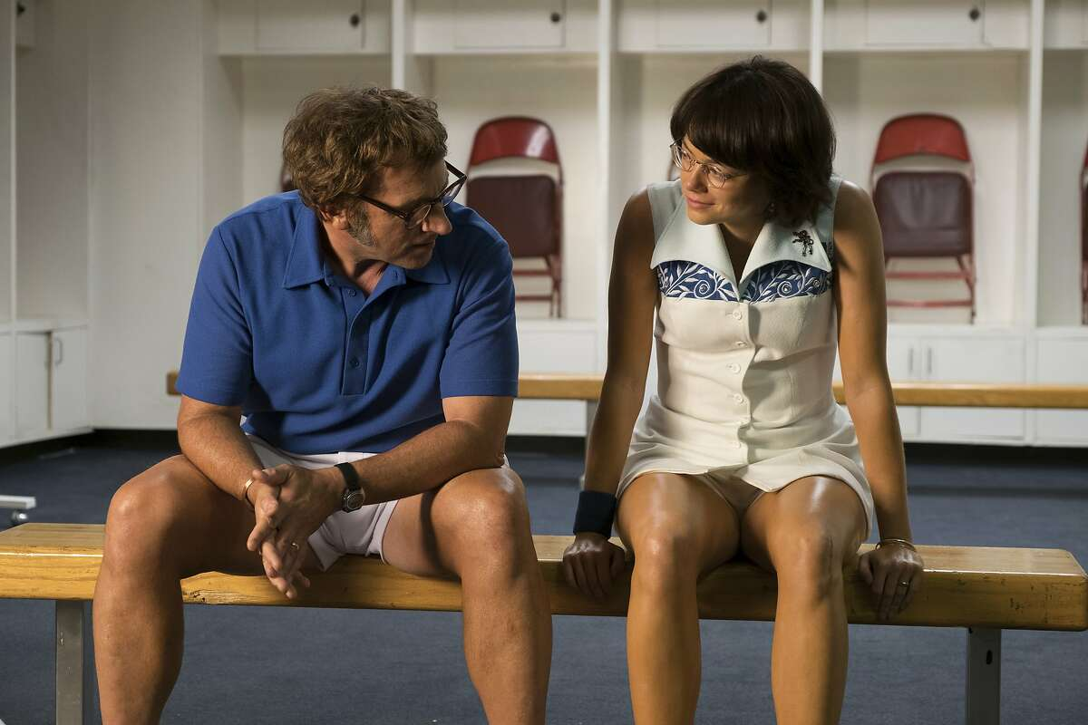 """This image released by Fox Searchlight Pictures shows Steve Carell, left, and Emma Stone in a scene from """"Battle of the Sexes."""" (Melinda Sue Gordon/Fox Searchlight Pictures via AP)"""