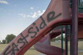 Graffiti was left on playground equipment in Beal Park 9/19/17. Tim Fischer/Reporter-Telegram