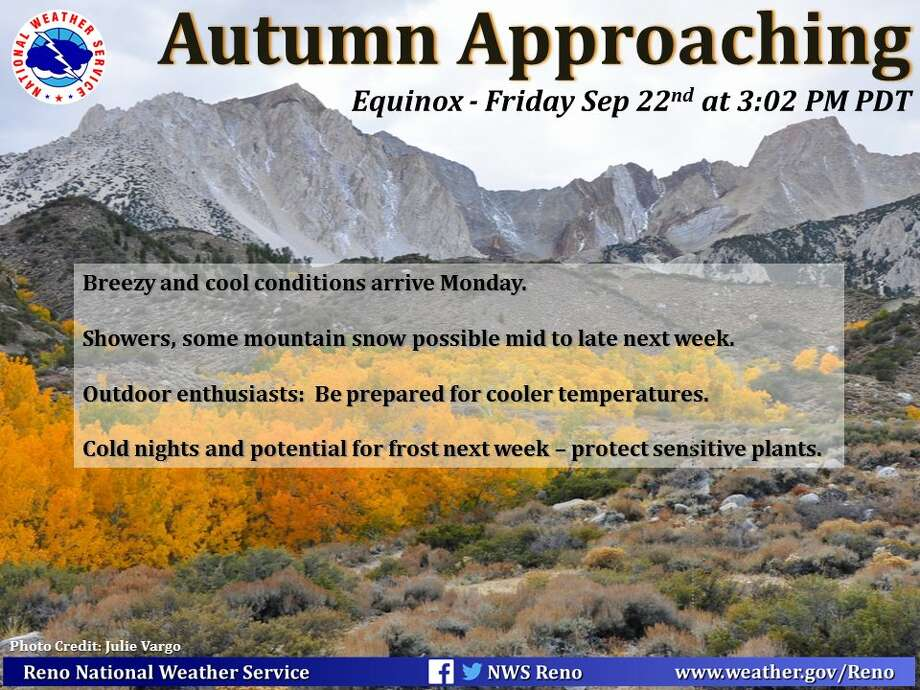 The National Weather Service Reno has snow in the forecast for the Sierra Nevada Thursday. Photo: National Weather Service Reno