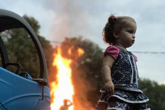 An 18-month-old girl has become an overnight internet sensation thanks to a quick photo her dad took while they were camping in Pennsylvania.