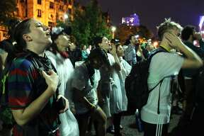 """The protests in St. Louis continued Monday night following last week's trial of ex-police officer Jason Stockley. Protestors chanted """"free our people"""" as they gathered outside of the St. Louis City Justice Center downtown. The majority of demonstrators, though angry, staged a fairly peaceful demonstration while standing through several bouts of rain."""