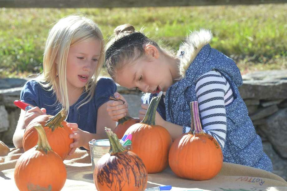 Madison Lowtheart and Caitlin Lenthner decorate pumkins for the family during 16th Annual Ambler farm Day on Sunday, Sept. 25, 2016 in Wilton. Photo: Alex Von Kleydorff / Hearst Connecticut Media / Connecticut Post