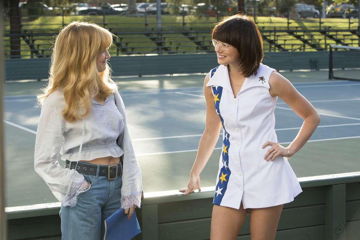 """This image released by Fox Searchlight Pictures shows Andrea Riseborough, left, and Emma Stone in a scene from """"Battle of the Sexes."""" (Melinda Sue Gordon/Fox Searchlight Pictures via AP)"""