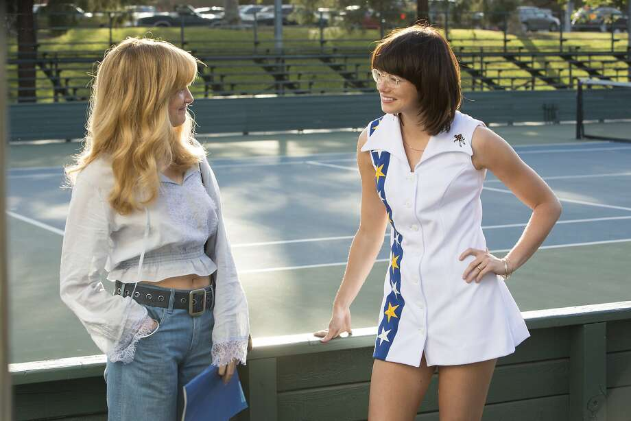 """This image released by Fox Searchlight Pictures shows Andrea Riseborough, left, and Emma Stone in a scene from """"Battle of the Sexes."""" (Melinda Sue Gordon/Fox Searchlight Pictures via AP) Photo: Melinda Sue Gordon, Associated Press"""
