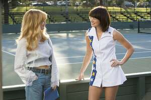 "This image released by Fox Searchlight Pictures shows Andrea Riseborough, left, and Emma Stone in a scene from ""Battle of the Sexes."" (Melinda Sue Gordon/Fox Searchlight Pictures via AP)"