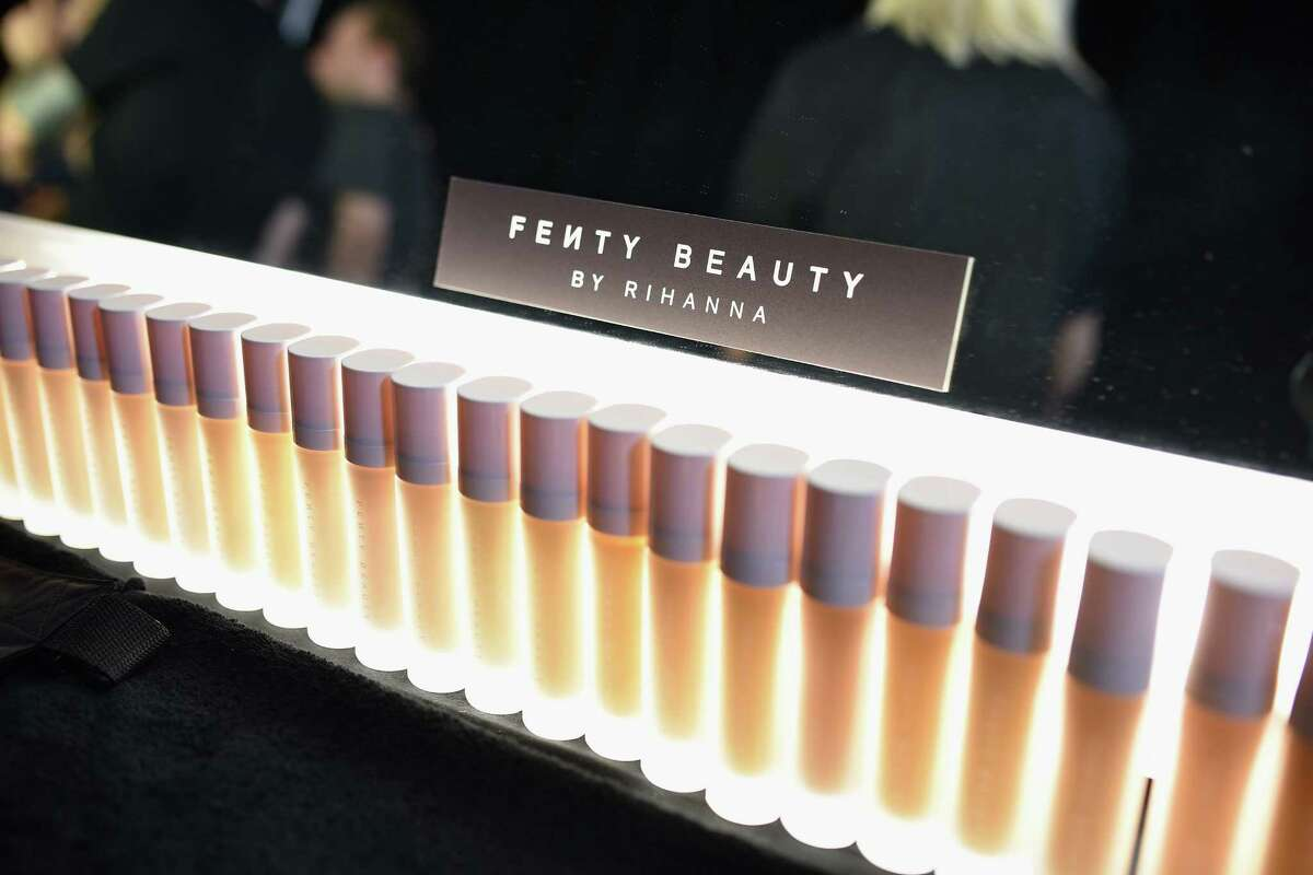 Makeup provided by Fenty Beauty backstage at the FENTY PUMA by Rihanna Spring/Summer 2018 Collection at NYFW on Sept. 10.