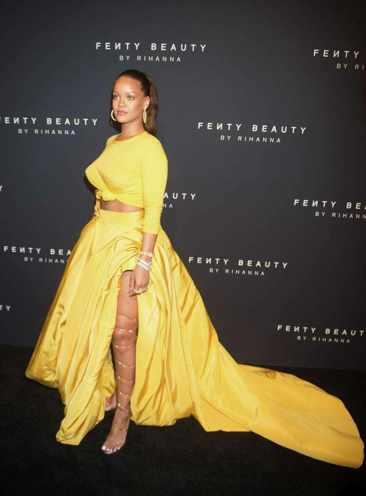 Rihanna arrives to celebrate the launch of her beauty brand, Fenty Beauty by Rihanna.