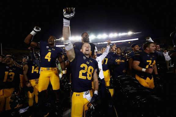 BERKELEY, CA - SEPTEMBER 16:  Patrick Laird #28 of the California Golden Bears celebrates as they sing the alma mater after they beat the Mississippi Rebels at California Memorial Stadium on September 16, 2017 in Berkeley, California.  (Photo by Ezra Shaw/Getty Images)