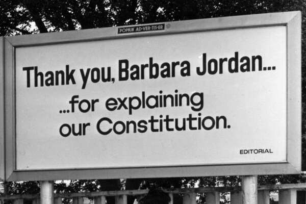 "07/1974 - Houston billboard which reads ""Thank you, Barbara Jordan ... for explaining our Constitution"" went up after U.S. Rep. Barbara Jordan's participation in the House Judiciary Committee debate on articles of impeachment for President RIchard M. Nixon in Washington, D.C."