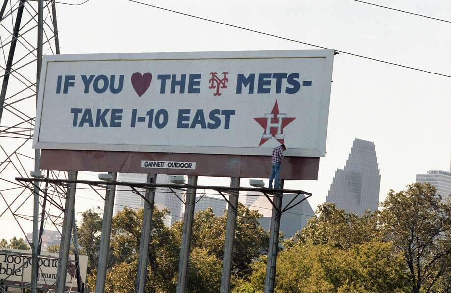 Billboard at I-10 and I-45, Oct. 15, 1986. The Astros faced the Mets in the National League Championship Series that year. The Mets won. Photo: Buster Dean/Houston Chronicle