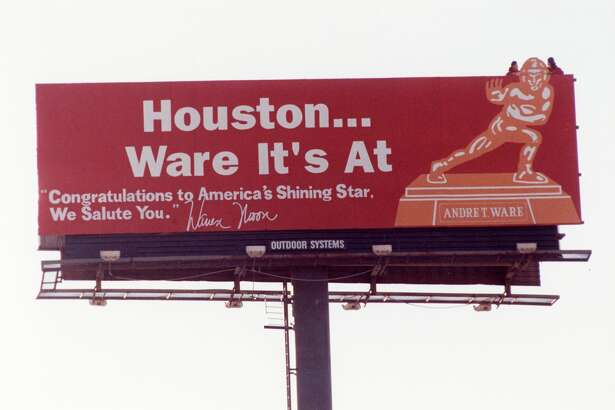"12/13/1989 - To honor Andre Ware, the University of Houston's record-setting quarterback, Oilers quarterback Warren Moon unveiled a billboard Wednesday morning devoted to the Heisman Trophy winner. ""Houston ... Ware It's At,"" reads the billboard at the intersection of the Gulf Freeway and Airport. ""Congratulations to America's Shining Star. We Salute You.""  The billboard is signed, ""Warren Moon.'"