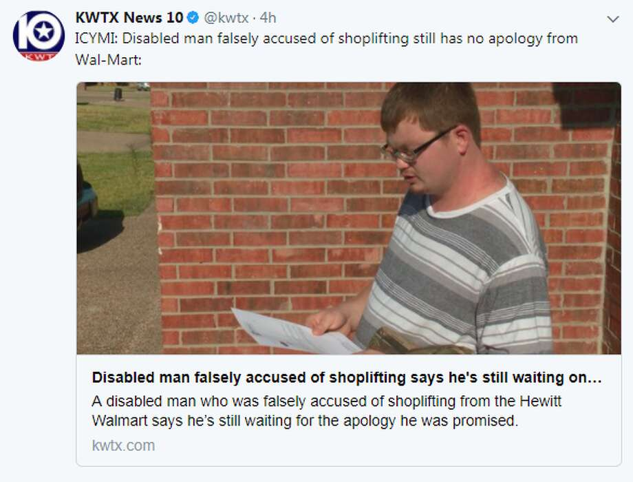 """Disabled man falsely accused of shoplifting still has no apology from Wal-Mart:"" @KWTX Photo: KWTX Via Twitter"