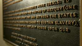"A Thursday Aug. 17, 2017 photo shows the Children of the Confederacy Creed plaque at the Capitol in Austin, Texas.  A powerful Texas Republican is calling for the removal of the Confederate marker in the state Capitol that rejects slavery as an underlying cause of the Civil War. Republican House Speaker Joe Straus said Tuesday, Sept. 19, in a letter to state officials that the plaque is ""blatantly inaccurate.""(Jay Janner/Austin American-Statesman via AP)"