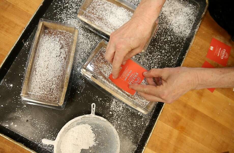 Honey cakes being packaged at Frena Bakery. Photo: Liz Hafalia, The Chronicle