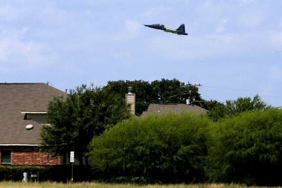 A U.S. Air Force T-38 trainer takes off from Joint Base San Antonio-Randolph Monday August 21, 2017 near Schertz, Texas. The planes are taking off near an area known as an APZ or Accident Potential Zone. Subdivisions are currently being built in areas close to these APZ areas.