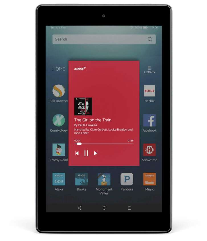 A screenshot on the Amazon Fire HD 8 tablet, demonstrates the Alexa experience. On Tuesday, the company debuted a new version of its Fire HD 10 tablet that has a high-definition screen for watching video, up to 64 GB of storage, a lower price and a processor that runs 30 percent faster, Amazon said.