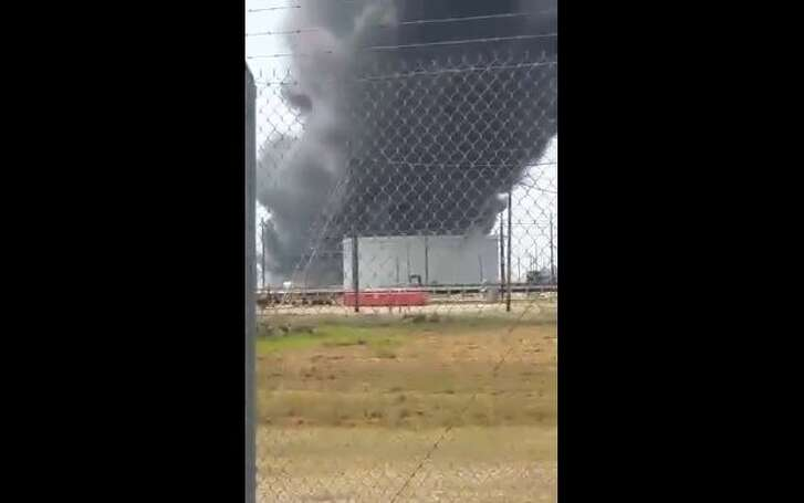 Video posted by the Beaumont Enterprise on Facebook shows Valero Energy Corp.'s Port Arthur refinery on fire on Tuesday, Sept. 19, 2017.