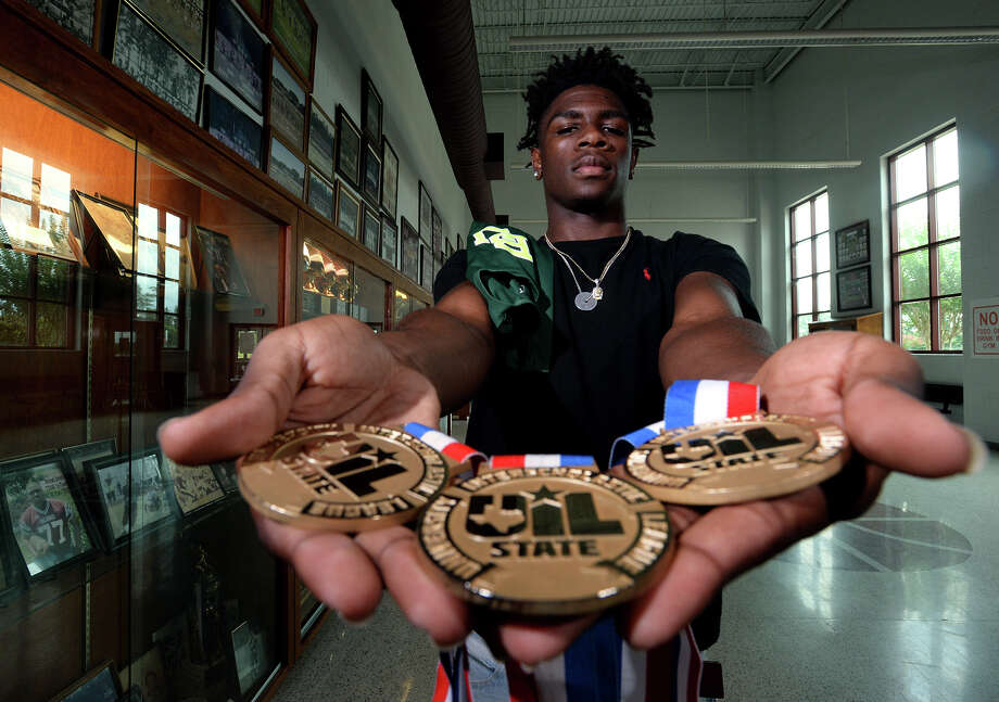 Silsbee's Kalon Barnes shows his UIL medals at the Tiger's school.  Photo taken Wednesday, June 28, 2017 Guiseppe Barranco/The Enterprise Photo: Guiseppe Barranco, Photo Editor