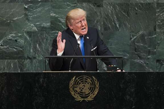 NEW YORK, NY - SEPTEMBER 19: U.S. President Donald Trump addresses the United Nations General Assembly at UN headquarters, September 19, 2017 in New York City. Among the issues facing the assembly this year are North Korea's nuclear developement, violence against the Rohingya Muslim minority in Myanmar and the debate over climate change. (Photo by Drew Angerer/Getty Images)