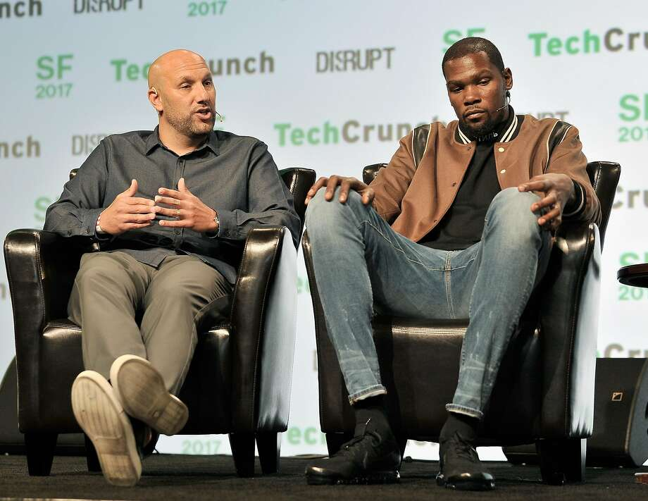 Durant Company/Thirty Five Media Partner Rich Kleiman and Kevin Durant speak onstage during TechCrunch Disrupt SF 2017 at Pier 48 on Sept. 19, 2017. Photo: Steve Jennings, Getty Images For TechCrunch