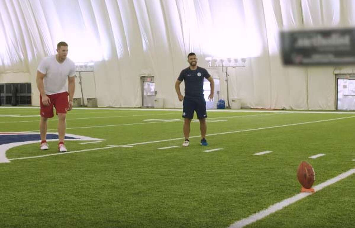 The Houston Texans' J.J. Watt and Manchester City's Sergio Aguero faced off in a kicking competition at the Texans' training facility this summer.
