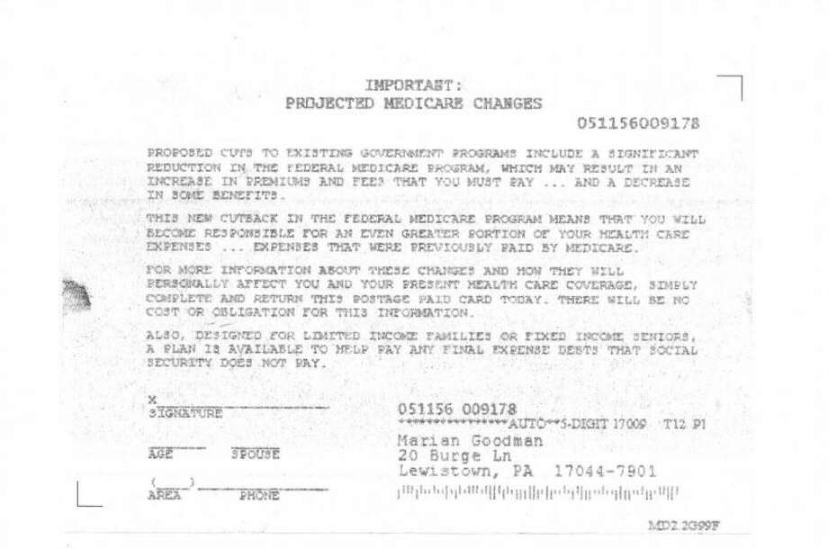 One of the notices sent out from the National Processing Center, that the Southwestern CT Agency on Aging is warning Medicare beneficiaries against responding. Photo: Contributed