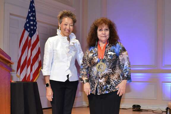 Eva Ybarra (right) with National Endowment for the Arts Chairman Jane Chu at last weekend's National Heritage Fellowship awards ceremony in Washington, D.C.