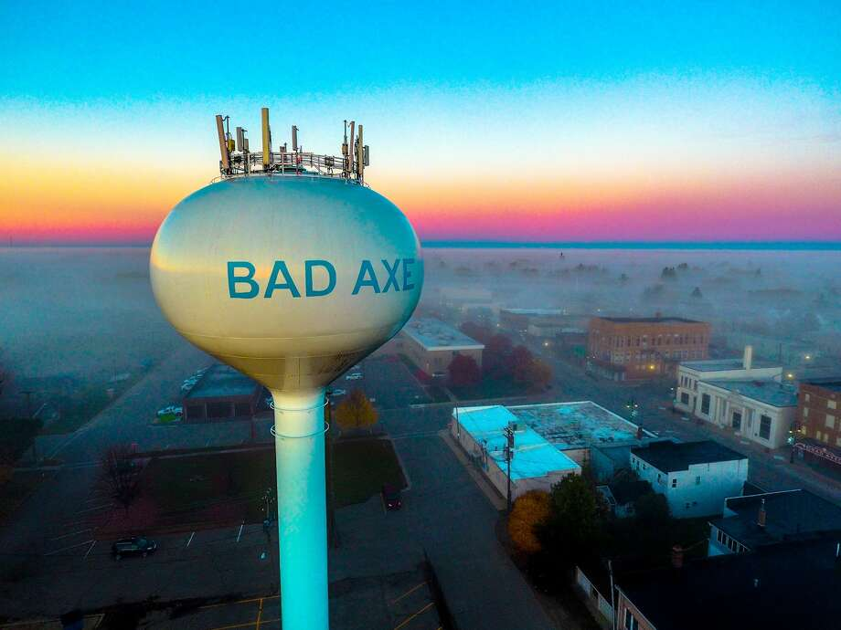 A look from above captures the fog sweeping through the city of Bad Axe recently. Photo: Tyler Leipprandt, Michigan Sky Media/For The Tribune