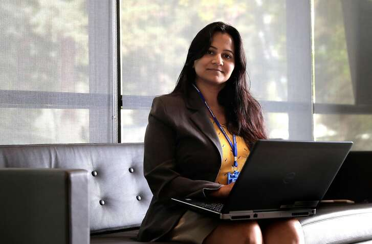 Megha Maheshwari, a self-driving -car-engineer at her work place, the Volvo Cars research and development Silicon Valley Tech Center in Mountain View, Ca., on Monday September 18,  2017.