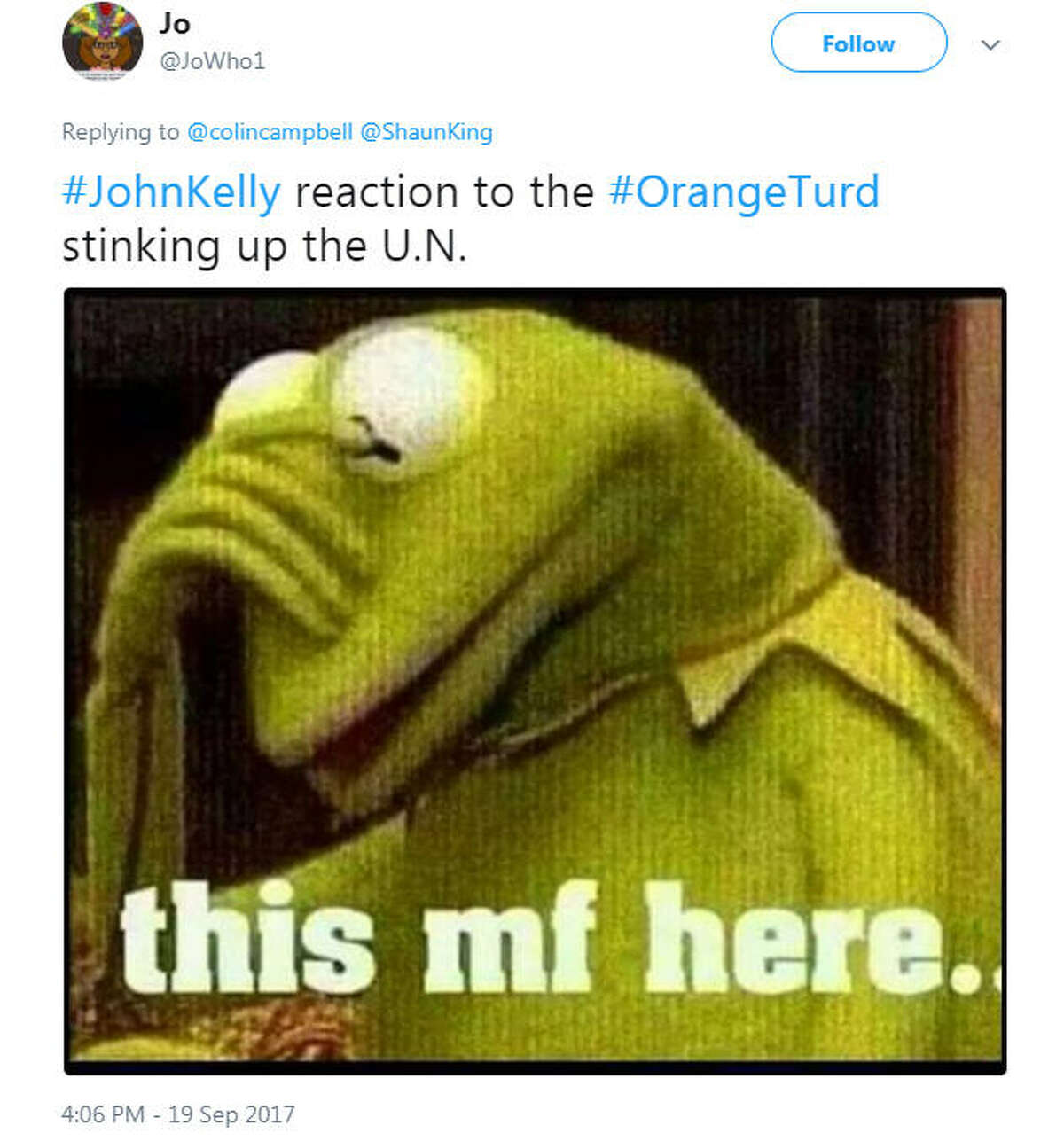 White House Chief of Staff John Kelly was spotted with his head in his hands while U.S. President Donald Trump delivered a speech to the United Nations on Sept. 19, 2017.Image source: Twitter
