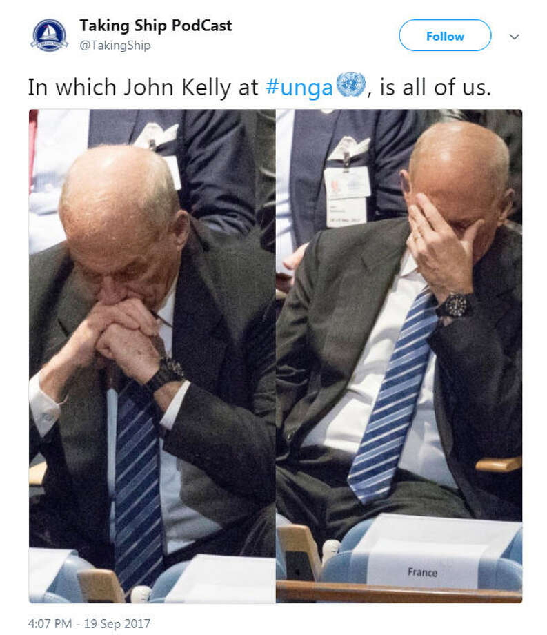 White House Chief of Staff John Kelly was spotted with his head in his hands while U.S. President Donald Trump delivered a speech to the United Nations on Sept. 19, 2017.Image source: Twitter Photo: Twitter