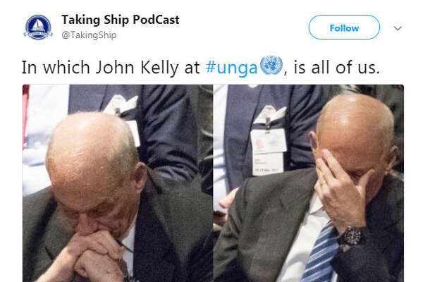 White House Chief of Staff John Kelly was spotted with his head in his hands while U.S. President Donald Trump delivered a speech to the United Nations on Sept. 19, 2017.  Image source:  Twitter