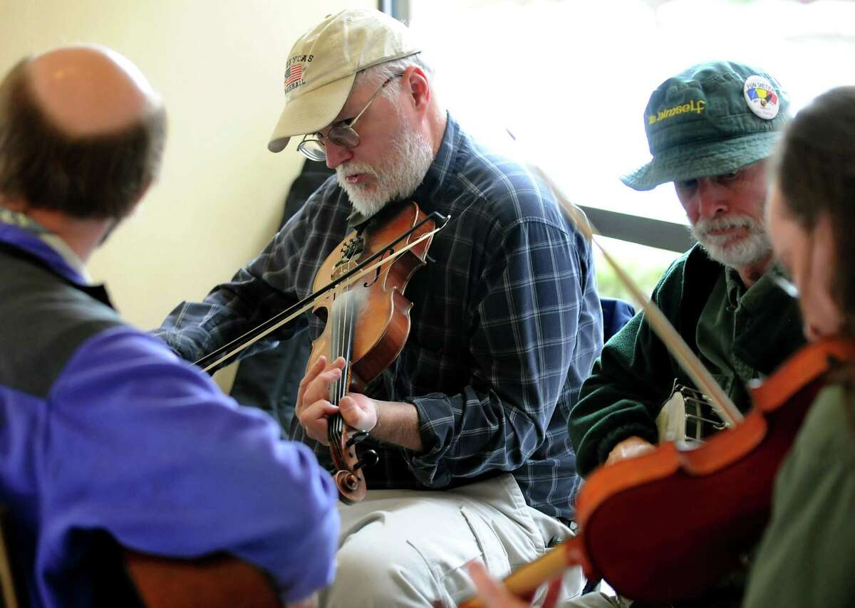 Mike Jarboe fiddles in a jam session at the Dance Flurry on Saturday, Feb. 13, 2010, at the Hilton in Saratoga Springs, N.Y. (Cindy Schultz / Times Union)