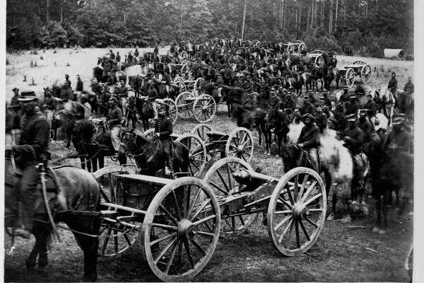 Union Army horse-drawn artillery crosses an open field, ca. 1861-1865.