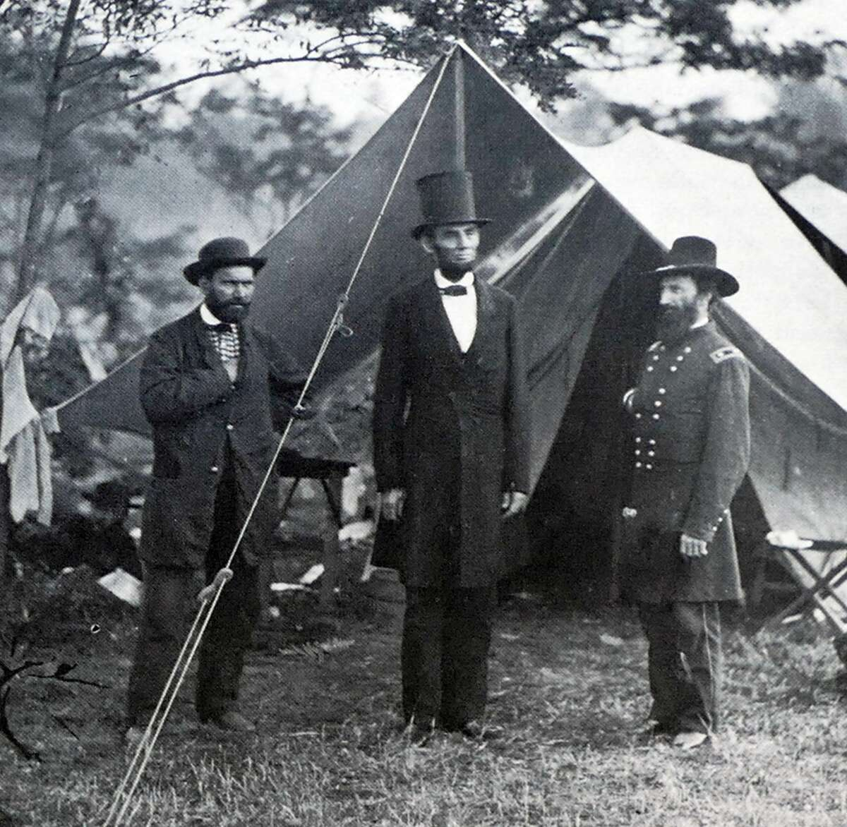 >>Click through to see historic photos of the American Civil War Left to Right: Photograph of Allan Pinkerton (1819-1884) President Abraham Lincoln (1809-1865) and John Alexander McClernand (1812-1900) during the Battle of Antietam. Dated 19th Century.